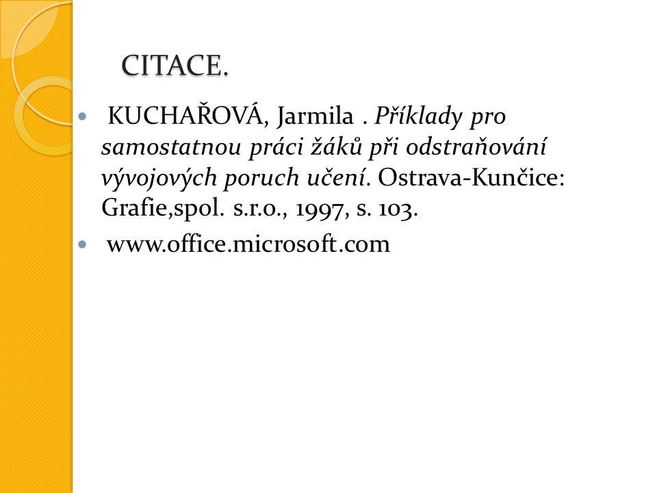CITACE. CITACE. KUCHAŘOVÁ, Jarmila.