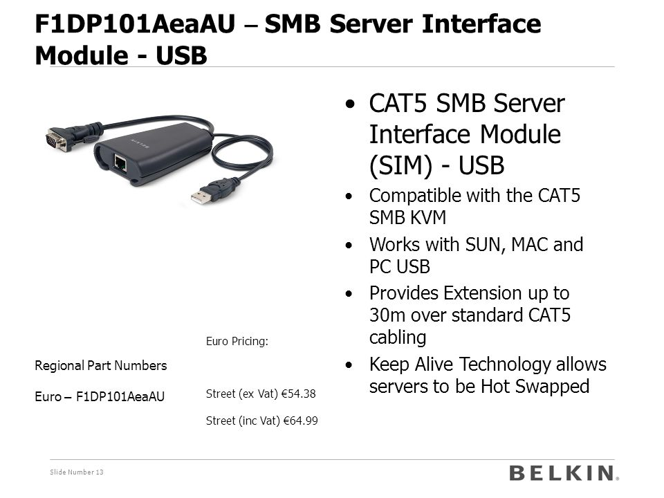 Slide Number 13 F1DP101AeaAU – SMB Server Interface Module - USB Euro Pricing: Street (ex Vat) € 54.38 Street (inc Vat) € 64.99 Regional Part Numbers