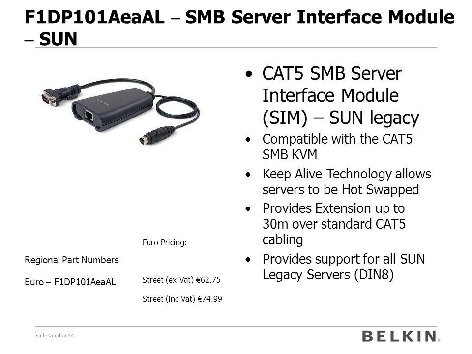 Slide Number 14 F1DP101AeaAL – SMB Server Interface Module – SUN Euro Pricing: Street (ex Vat) € 62.75 Street (inc Vat) € 74.99 Regional Part Numbers