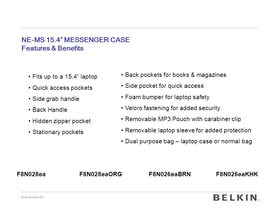 "Slide Number 24 NE-MS 15.4"" MESSENGER CASE Features & Benefits Fits up to a 15.4"" laptop Quick access pockets Side grab handle Back Handle Hidden zipp"