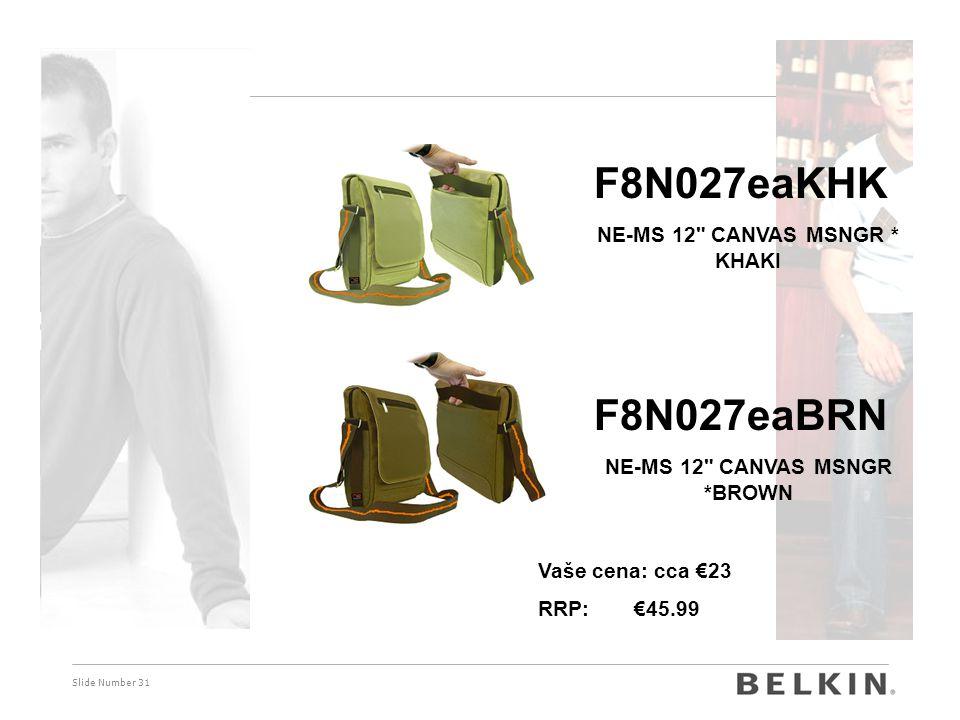 Slide Number 31 F8N027eaKHK NE-MS 12 CANVAS MSNGR * KHAKI F8N027eaBRN NE-MS 12 CANVAS MSNGR *BROWN Vaše cena: cca €23 RRP: €45.99