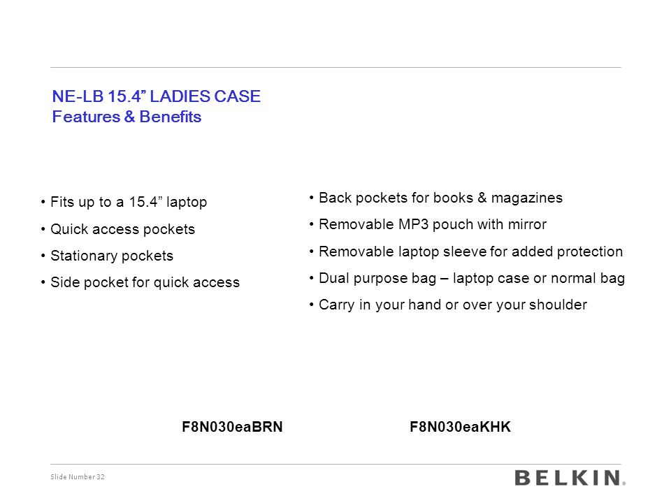 Slide Number 32 NE-LB 15.4 LADIES CASE Features & Benefits Fits up to a 15.4 laptop Quick access pockets Stationary pockets Side pocket for quick access Back pockets for books & magazines Removable MP3 pouch with mirror Removable laptop sleeve for added protection Dual purpose bag – laptop case or normal bag Carry in your hand or over your shoulder F8N030eaBRNF8N030eaKHK