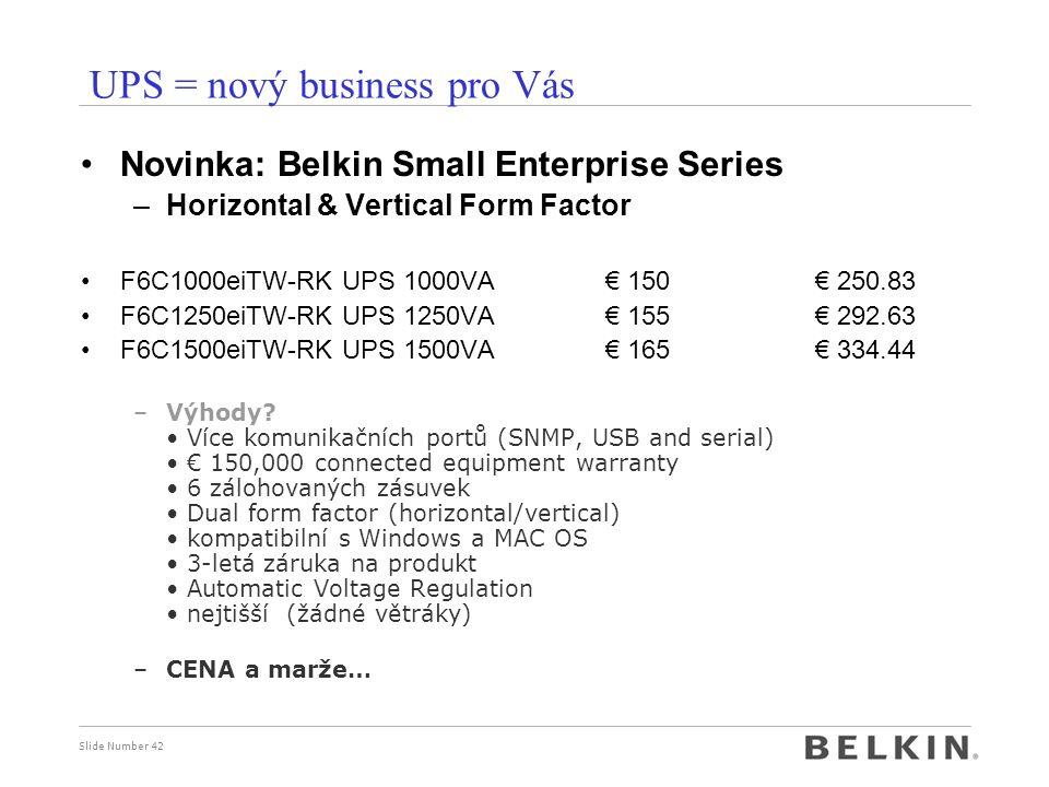 Slide Number 42 UPS = nový business pro Vás Novinka: Belkin Small Enterprise Series –Horizontal & Vertical Form Factor F6C1000eiTW-RK UPS 1000VA€ 150€ 250.83 F6C1250eiTW-RK UPS 1250VA € 155€ 292.63 F6C1500eiTW-RK UPS 1500VA € 165€ 334.44 –Výhody.