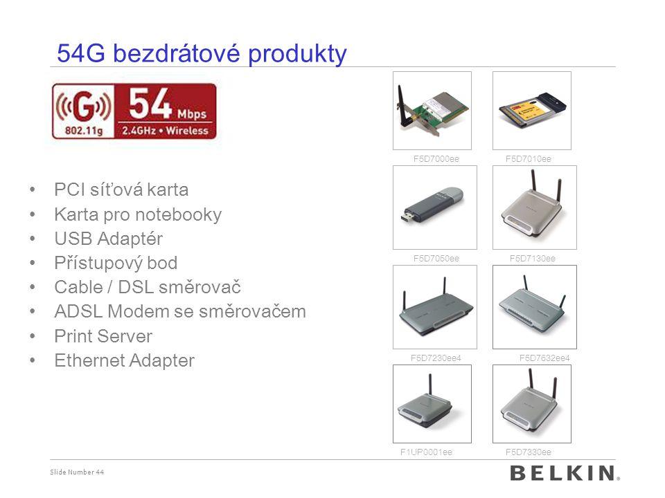 Slide Number 44 54G bezdr á tov é produkty PCI síťová karta Karta pro notebooky USB Adaptér Přístupový bod Cable / DSL směrovač ADSL Modem se směrovač