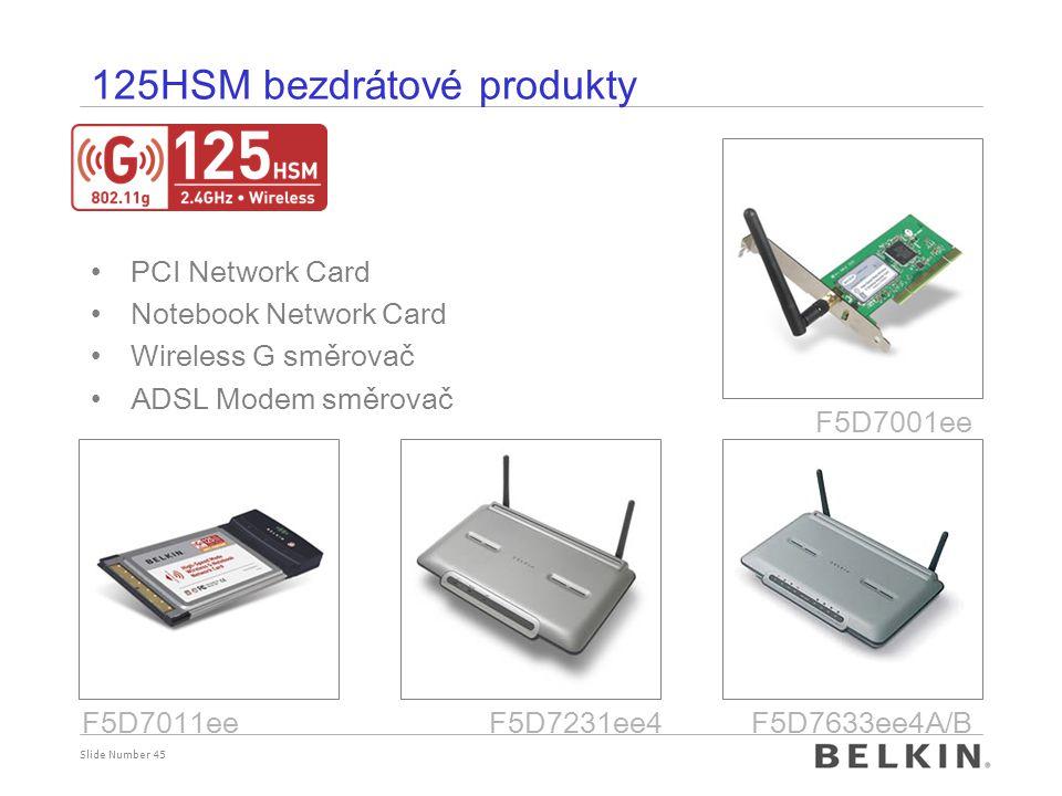 Slide Number 45 125HSM bezdrátové produkty PCI Network Card Notebook Network Card Wireless G směrovač ADSL Modem směrovač F5D7231ee4 F5D7001ee F5D7011