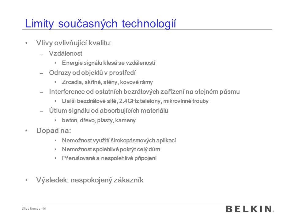 Slide Number 46 Limity současných technologií Vlivy ovlivňující kvalitu: –Vzdálenost Energie signálu klesá se vzdáleností –Odrazy od objektů v prostře