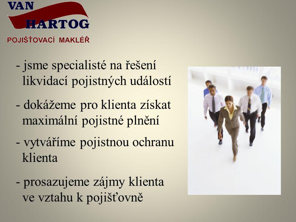 - jsme specialisté na řešení likvidací pojistných událostí - dokážeme pro klienta získat maximální pojistné plnění - vytváříme pojistnou ochranu klienta - prosazujeme zájmy klienta ve vztahu k pojišťovně