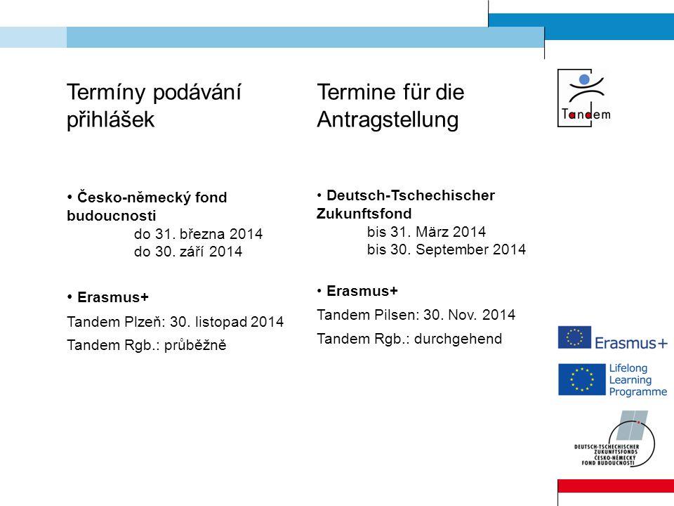 Termíny podávání přihlášek Česko-německý fond budoucnosti do 31.