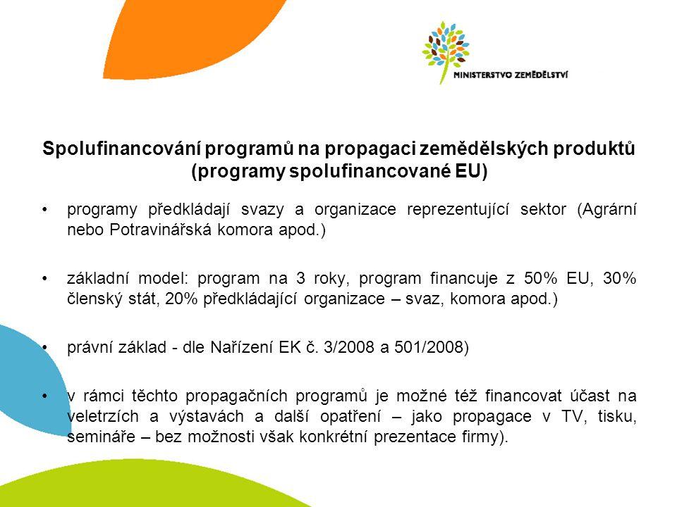 Spolufinancování programů na propagaci zemědělských produktů (programy spolufinancované EU) programy předkládají svazy a organizace reprezentující sektor (Agrární nebo Potravinářská komora apod.) základní model: program na 3 roky, program financuje z 50% EU, 30% členský stát, 20% předkládající organizace – svaz, komora apod.) právní základ - dle Nařízení EK č.