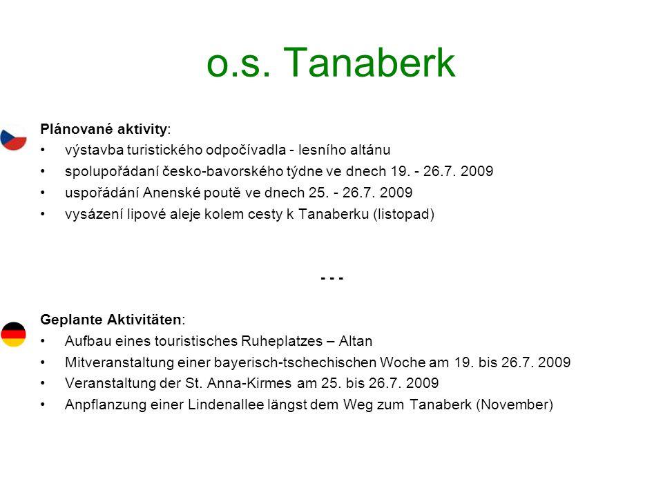 o.s. Tanaberk Plánované aktivity: výstavba turistického odpočívadla - lesního altánu spolupořádaní česko-bavorského týdne ve dnech 19. - 26.7. 2009 us