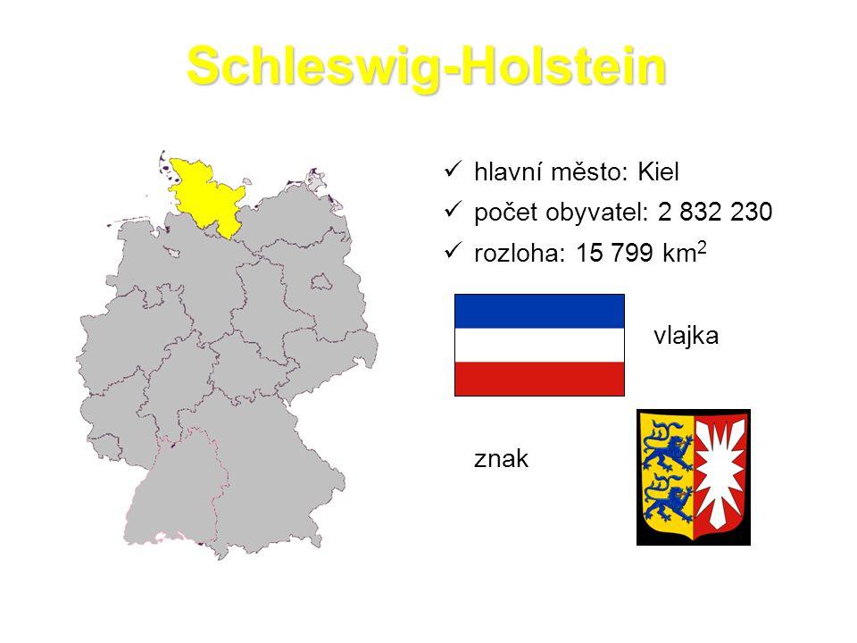 Schleswig-Holstein hlavní město: Kiel počet obyvatel: 2 832 230 rozloha: 15 799 km 2 vlajka znak