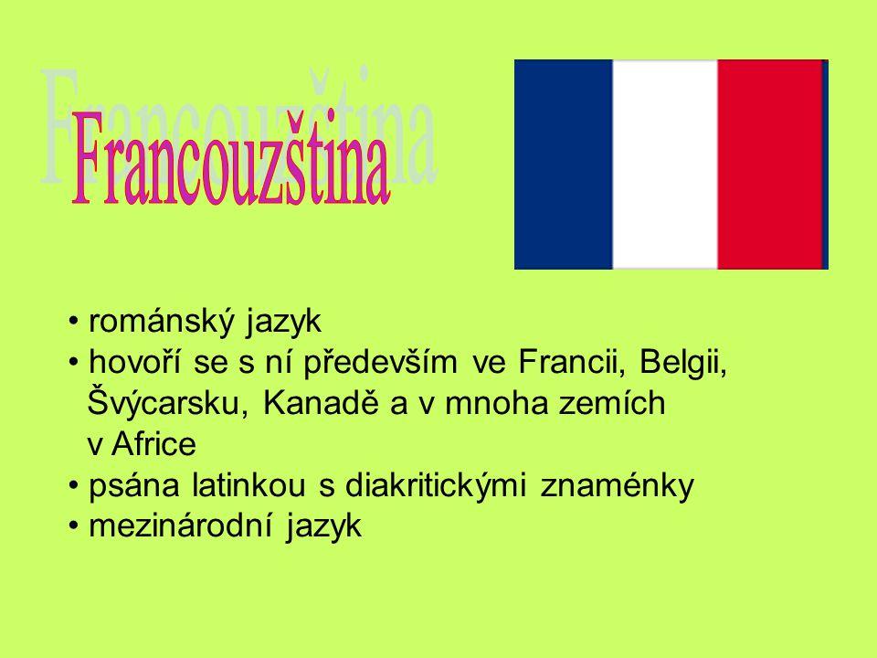 románský jazyk hovoří se s ní především ve Francii, Belgii, Švýcarsku, Kanadě a v mnoha zemích v Africe psána latinkou s diakritickými znaménky meziná