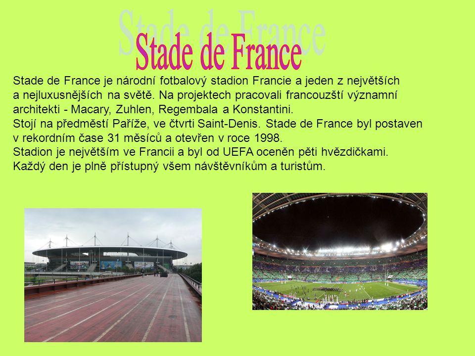 Stade de France je národní fotbalový stadion Francie a jeden z největších a nejluxusnějších na světě.