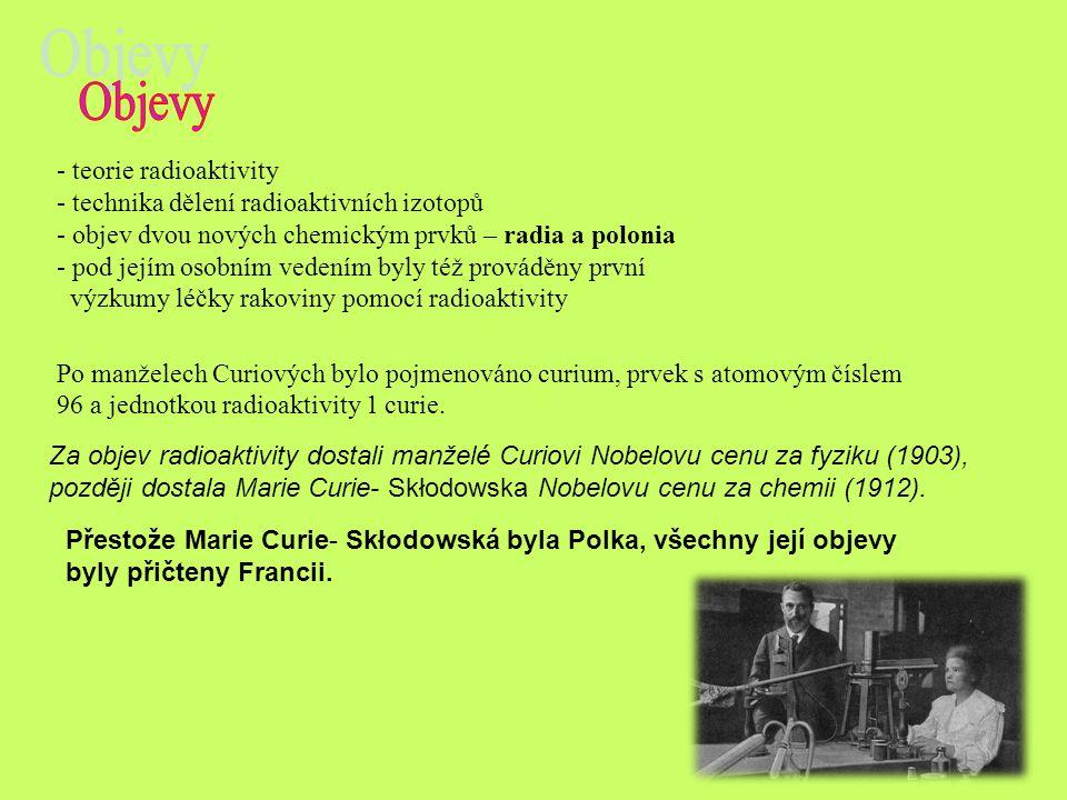 Přestože Marie Curie- Skłodowská byla Polka, všechny její objevy byly přičteny Francii. Za objev radioaktivity dostali manželé Curiovi Nobelovu cenu z