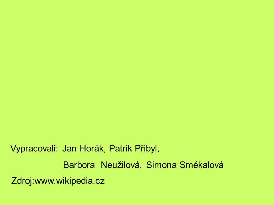 Vypracovali: Jan Horák, Patrik Přibyl, Barbora Neužilová, Simona Smékalová Zdroj:www.wikipedia.cz