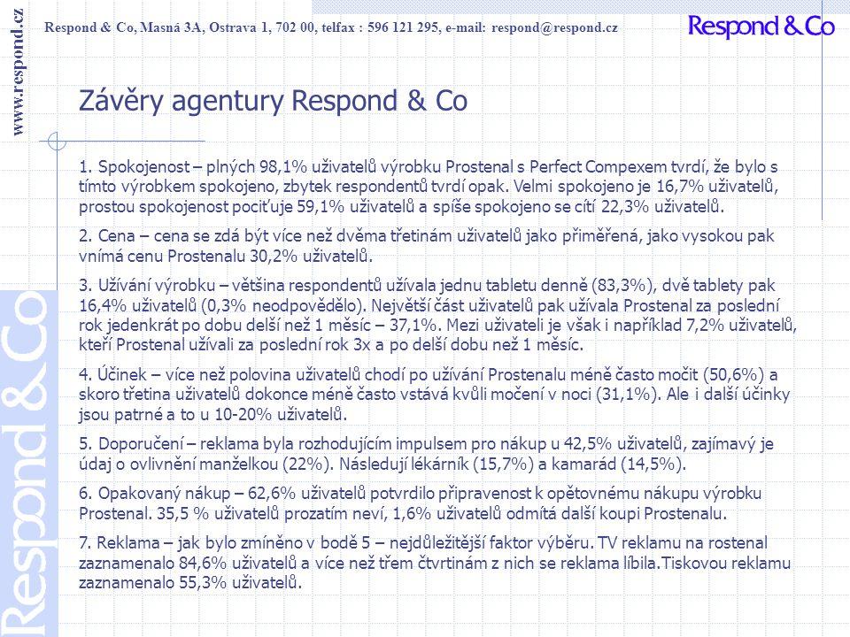 Respond & Co, Masná 3A, Ostrava 1, 702 00, telfax : 596 121 295, e-mail: respond@respond.cz www.respond.cz Závěry agentury Respond & Co 1. Spokojenost