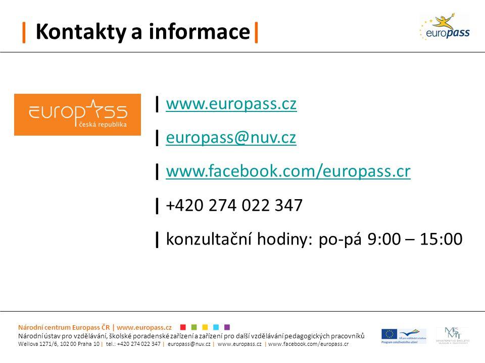 | Kontakty a informace| Národní centrum Europass ČR | www.europass.cz Národní ústav pro vzdělávání, školské poradenské zařízení a zařízení pro další v