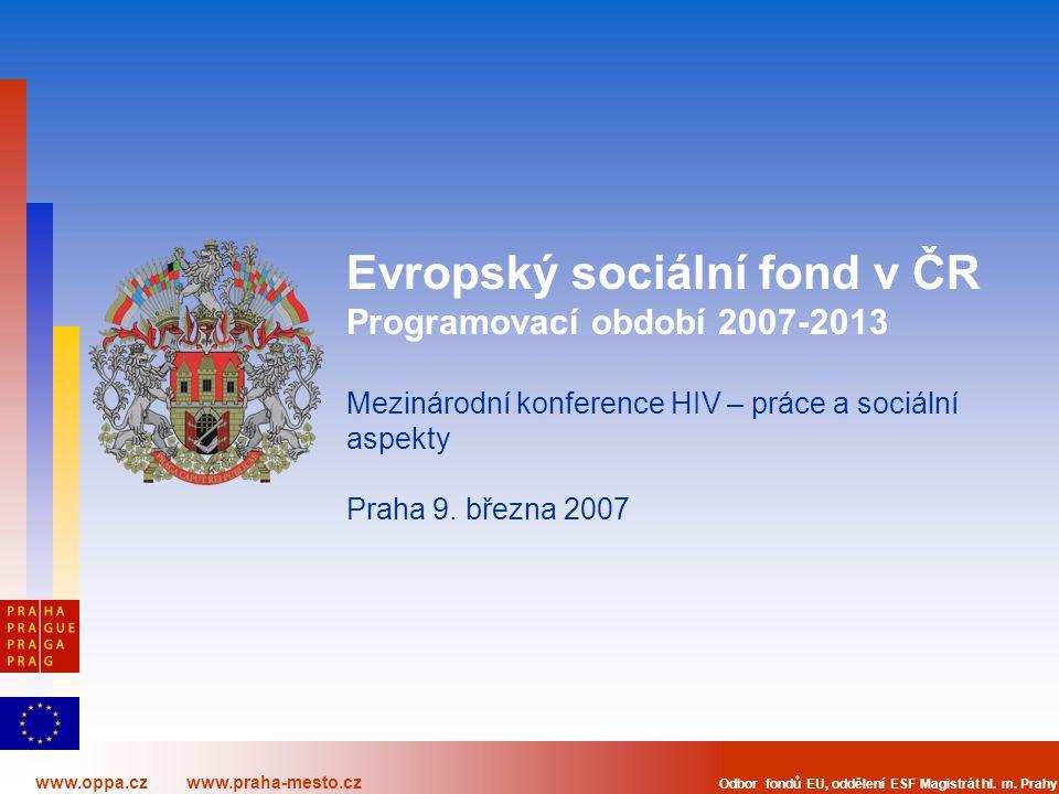 www.oppa.cz www.praha-mesto.cz Odbor fondů EU, oddělení ESF Magistrát hl. m. Prahy Evropský sociální fond v ČR Programovací období 2007-2013 Mezinárod