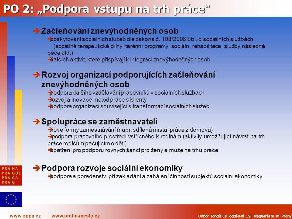 """www.oppa.cz www.praha-mesto.cz Odbor fondů EU, oddělení ESF Magistrát hl. m. Prahy PO 2: """"Podpora vstupu na trh práce""""  Začleňování znevýhodněných os"""