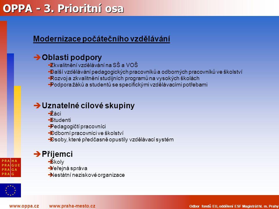 www.oppa.cz www.praha-mesto.cz Odbor fondů EU, oddělení ESF Magistrát hl. m. Prahy OPPA - 3. Prioritní osa Modernizace počátečního vzdělávání  Oblast