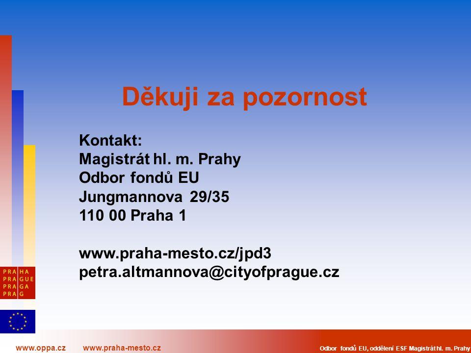 www.oppa.cz www.praha-mesto.cz Odbor fondů EU, oddělení ESF Magistrát hl. m. Prahy Děkuji za pozornost Kontakt: Magistrát hl. m. Prahy Odbor fondů EU
