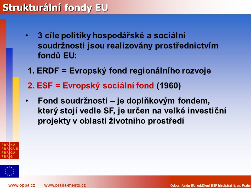 www.oppa.cz www.praha-mesto.cz Odbor fondů EU, oddělení ESF Magistrát hl. m. Prahy Strukturální fondy EU 3 cíle politiky hospodářské a sociální soudrž