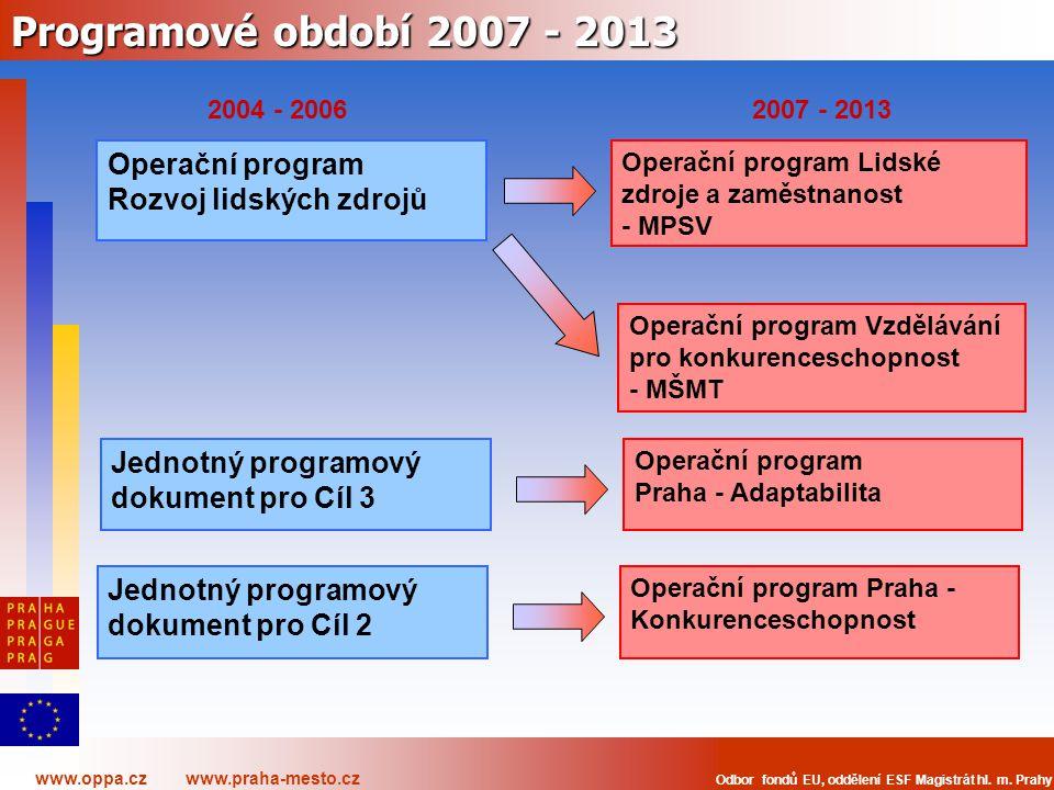 www.oppa.cz www.praha-mesto.cz Odbor fondů EU, oddělení ESF Magistrát hl. m. Prahy Programové období 2007 - 2013 Operační program Lidské zdroje a zamě