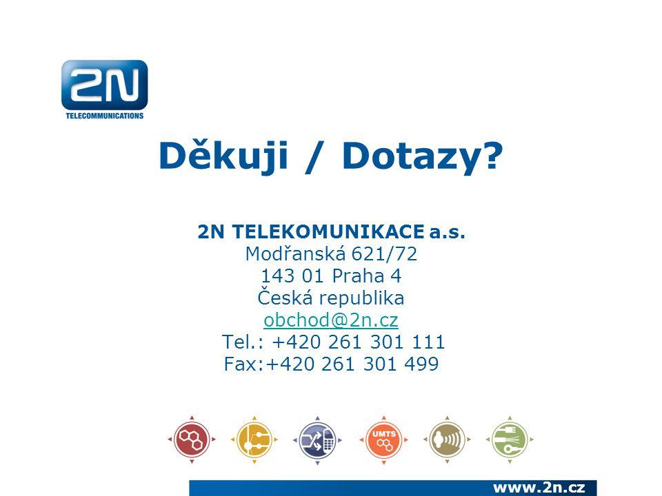 Děkuji / Dotazy. 2N TELEKOMUNIKACE a.s.