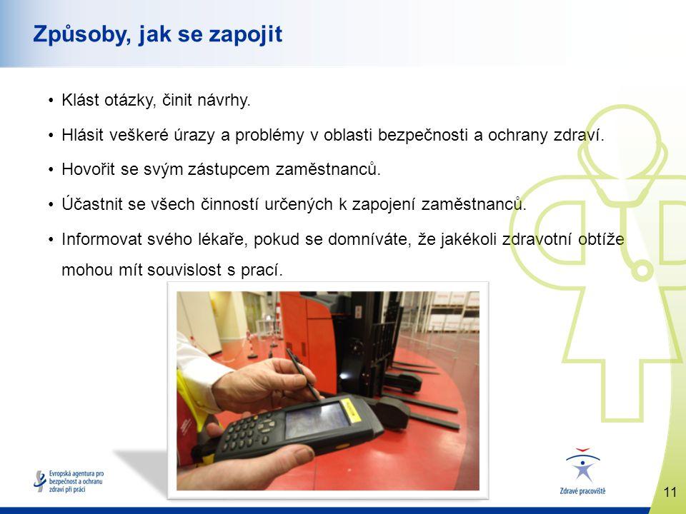 11 www.healthy-workplaces.eu Způsoby, jak se zapojit Klást otázky, činit návrhy. Hlásit veškeré úrazy a problémy v oblasti bezpečnosti a ochrany zdrav