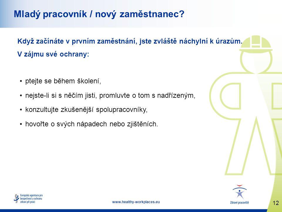 12 www.healthy-workplaces.eu Mladý pracovník / nový zaměstnanec? Když začínáte v prvním zaměstnání, jste zvláště náchylní k úrazům. V zájmu své ochran