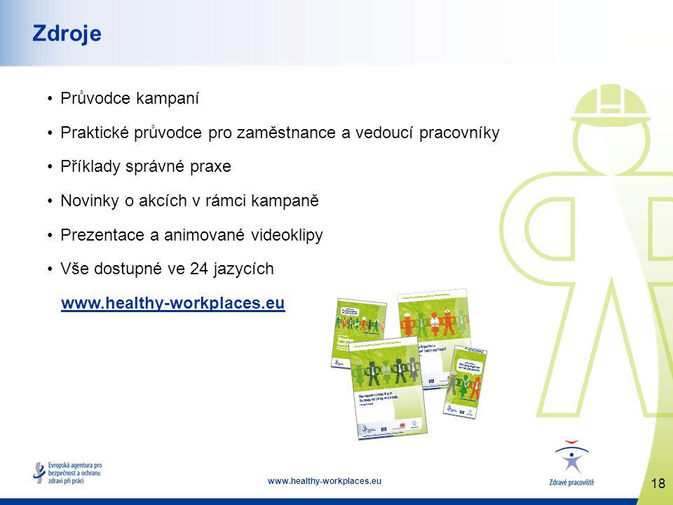 18 www.healthy-workplaces.eu Zdroje Průvodce kampaní Praktické průvodce pro zaměstnance a vedoucí pracovníky Příklady správné praxe Novinky o akcích v