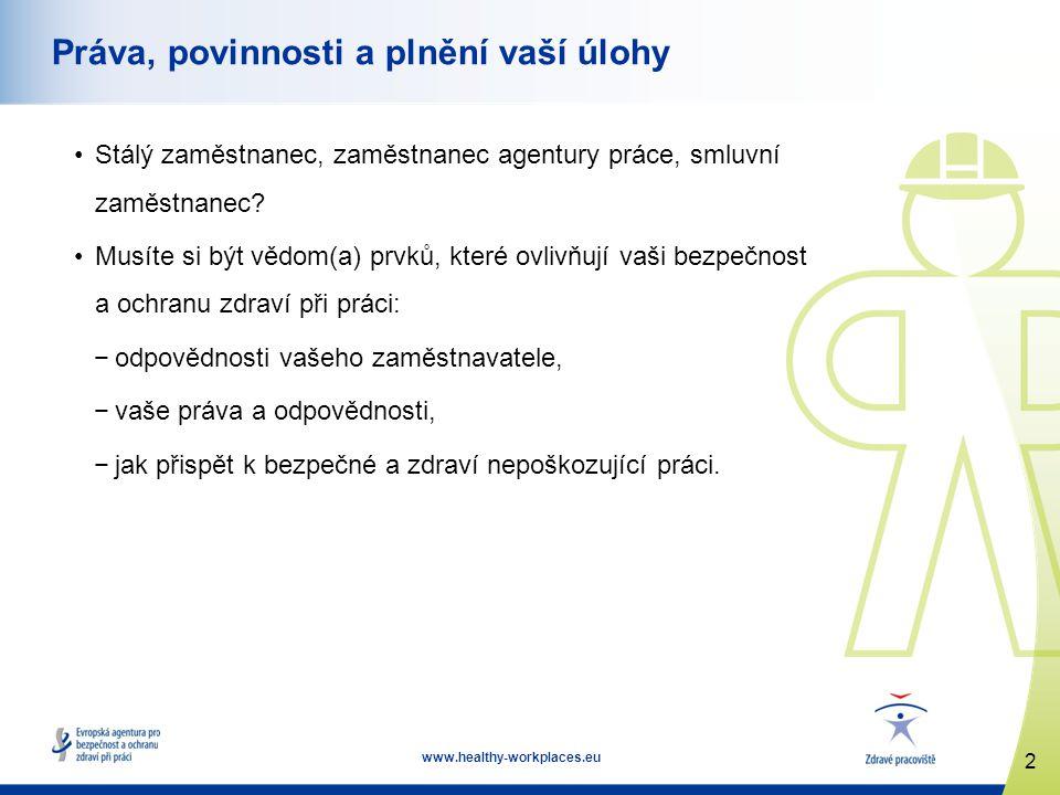 2 www.healthy-workplaces.eu Práva, povinnosti a plnění vaší úlohy Stálý zaměstnanec, zaměstnanec agentury práce, smluvní zaměstnanec? Musíte si být vě