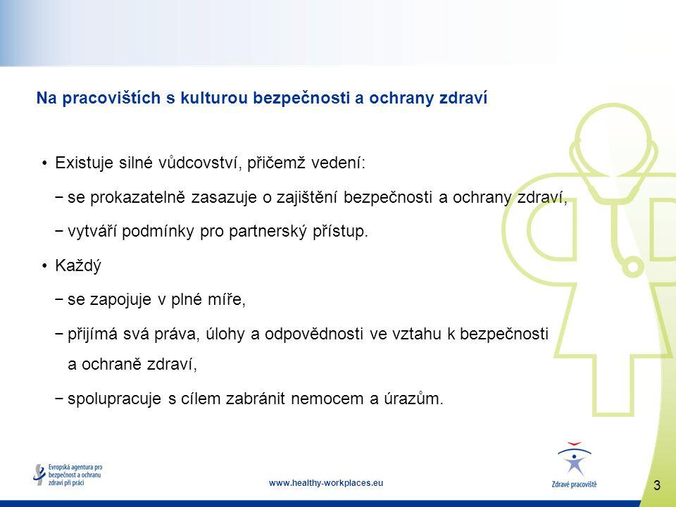 3 www.healthy-workplaces.eu Na pracovištích s kulturou bezpečnosti a ochrany zdraví Existuje silné vůdcovství, přičemž vedení: −se prokazatelně zasazu