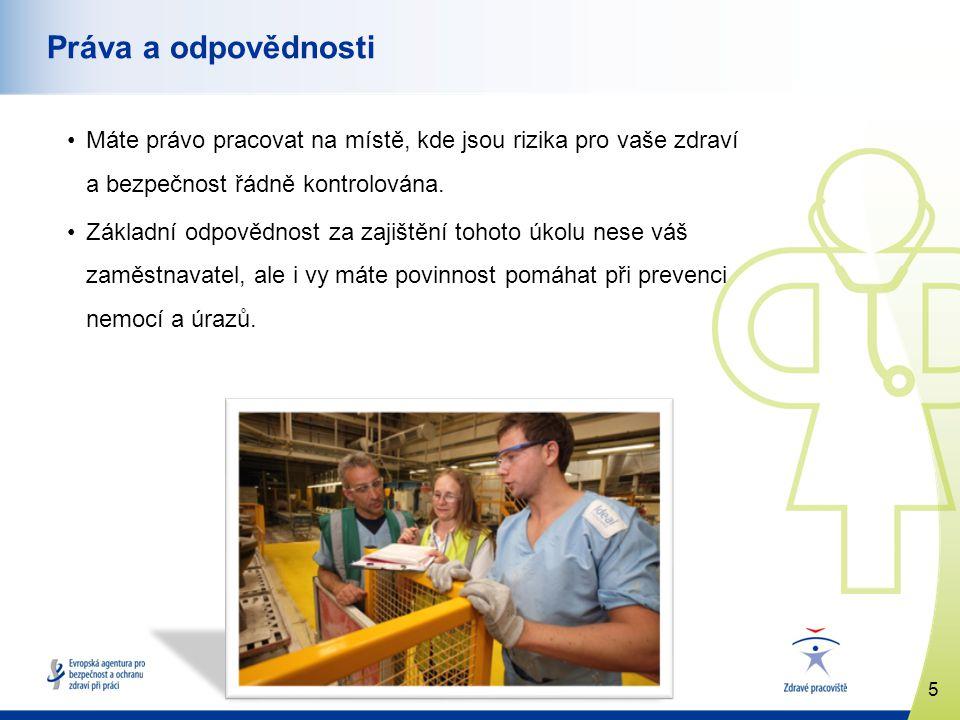5 www.healthy-workplaces.eu Práva a odpovědnosti Máte právo pracovat na místě, kde jsou rizika pro vaše zdraví a bezpečnost řádně kontrolována. Základ