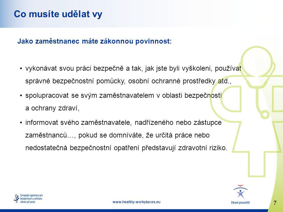 8 www.healthy-workplaces.eu Řízení bezpečnosti a ochrany zdraví vyžaduje účast zaměstnanců Aby vás zapojil, měl by váš zaměstnavatel postupovat takto: povzbuzovat vás k ohlašování problémů v oblasti bezpečnosti, aktivně vás zapojovat do vyhledávání problémů, požádat vás o náměty na zlepšení bezpečnostních opatření, dát jasně najevo, že si vašich nápadů cení a bude se jimi vážně zabývat, poskytnout vám za váš nápad uznání, vysvětlit, které nápady použije a které nikoli a proč.
