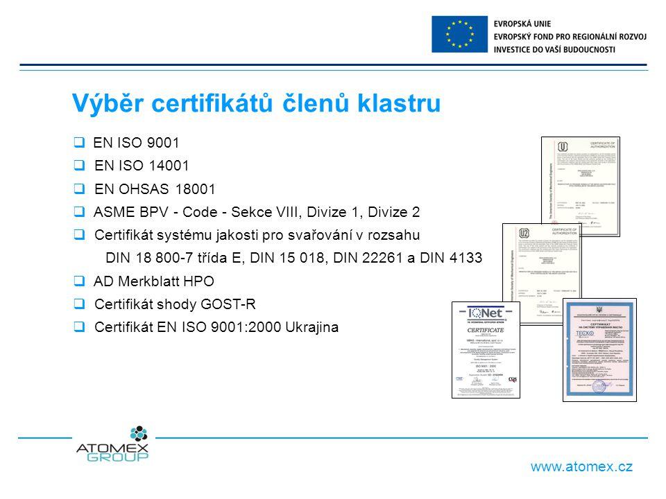 www.atomex.cz Výběr certifikátů členů klastru  EN ISO 9001  EN ISO 14001  EN OHSAS 18001  ASME BPV - Code - Sekce VIII, Divize 1, Divize 2  Certifikát systému jakosti pro svařování v rozsahu DIN 18 800-7 třída E, DIN 15 018, DIN 22261 a DIN 4133  AD Merkblatt HPO  Certifikát shody GOST-R  Certifikát EN ISO 9001:2000 Ukrajina