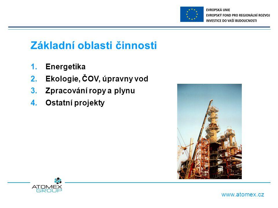 www.atomex.cz 1. Energetika 2. Ekologie, ČOV, úpravny vod 3.