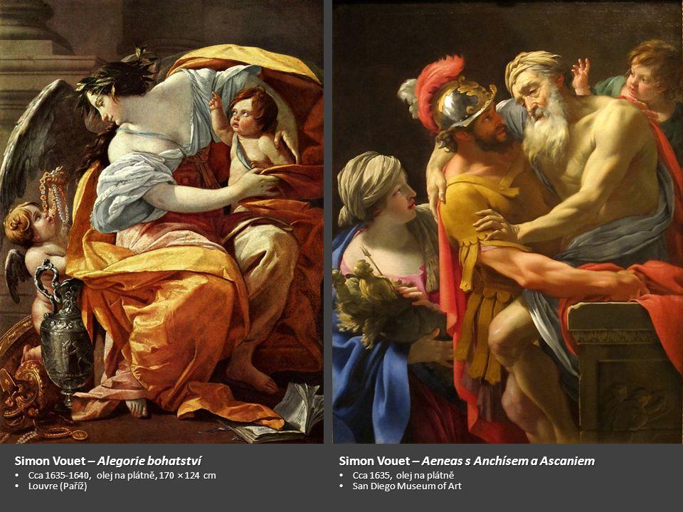 Simon Vouet Čas poražený Láskou, Pravdou a Nadějí 1627, olej na plátně, 107 x 142 cm Prado (Madrid)