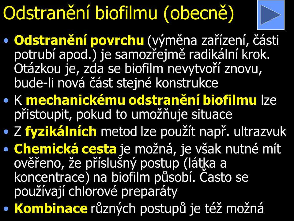 Odstranění biofilmu (obecně) Odstranění povrchu (výměna zařízení, části potrubí apod.) je samozřejmě radikální krok. Otázkou je, zda se biofilm nevytv