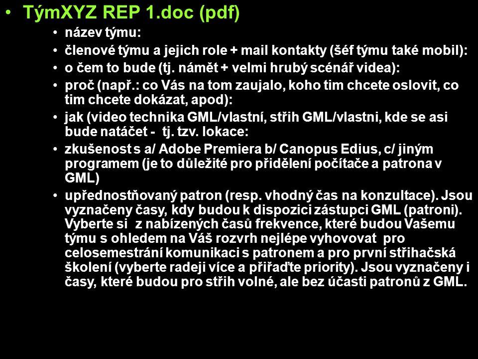 TýmXYZ REP 1.doc (pdf) název týmu: členové týmu a jejich role + mail kontakty (šéf týmu také mobil): o čem to bude (tj. námět + velmi hrubý scénář vid