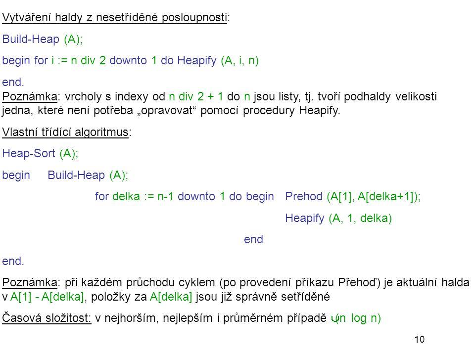 10 Vytváření haldy z nesetříděné posloupnosti: Build-Heap (A); begin for i := n div 2 downto 1 do Heapify (A, i, n) end. Poznámka: vrcholy s indexy od