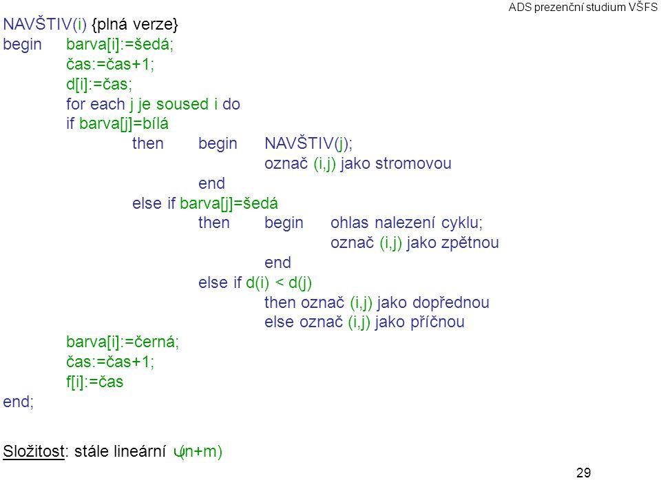 29 ADS prezenční studium VŠFS NAVŠTIV(i) {plná verze} beginbarva[i]:=šedá; čas:=čas+1; d[i]:=čas; for each j je soused i do if barva[j]=bílá then beginNAVŠTIV(j); označ (i,j) jako stromovou end else if barva[j]=šedá then begin ohlas nalezení cyklu; označ (i,j) jako zpětnou end else if d(i) < d(j) then označ (i,j) jako dopřednou else označ (i,j) jako příčnou barva[i]:=černá; čas:=čas+1; f[i]:=čas end; Složitost: stále lineární Θ(n+m)