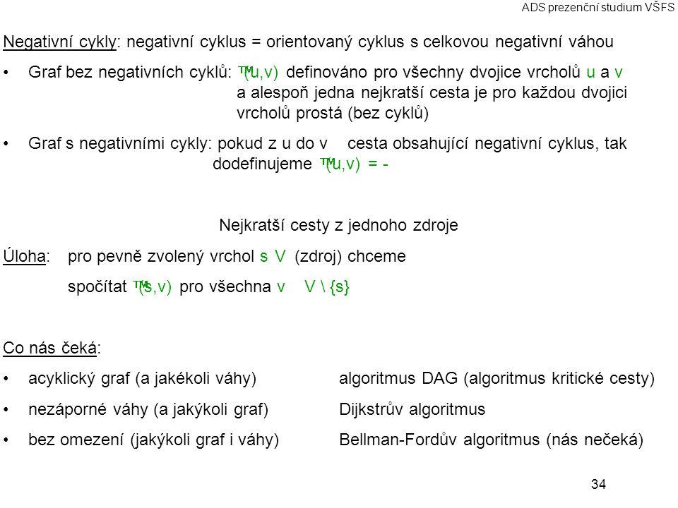 34 ADS prezenční studium VŠFS Negativní cykly: negativní cyklus = orientovaný cyklus s celkovou negativní váhou Graf bez negativních cyklů:  (u,v) de