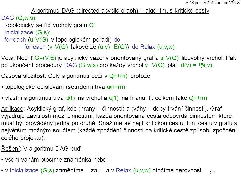 37 ADS prezenční studium VŠFS Algoritmus DAG (directed acyclic graph) = algoritmus kritické cesty DAG (G,w,s); topologicky setřiď vrcholy grafu G; Inicializace (G,s); for each (u ∈ V(G) v topologickém pořadí) do for each (v ∈ V(G) takové že (u,v) ∈ E(G)) do Relax (u,v,w) Věta: Nechť G=(V,E) je acyklický vážený orientovaný graf a s ∈ V(G) libovolný vrchol.