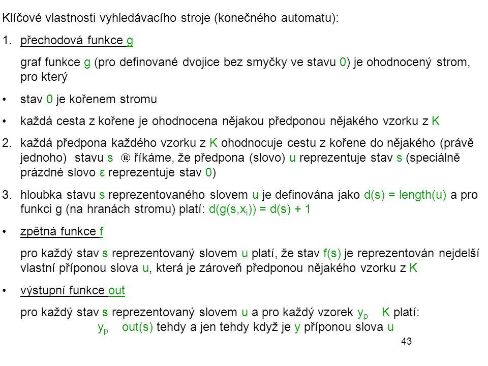 43 Klíčové vlastnosti vyhledávacího stroje (konečného automatu): 1.přechodová funkce g graf funkce g (pro definované dvojice bez smyčky ve stavu 0) je