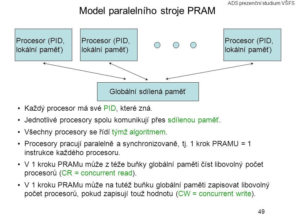 49 ADS prezenční studium VŠFS Model paralelního stroje PRAM Každý procesor má své PID, které zná. Jednotlivé procesory spolu komunikují přes sdílenou