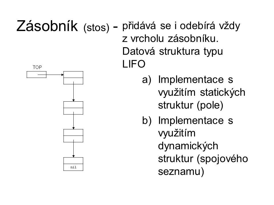 Zásobník (stos) - a)Implementace s využitím statických struktur (pole) b)Implementace s využitím dynamických struktur (spojového seznamu) nil TOP přidává se i odebírá vždy z vrcholu zásobníku.