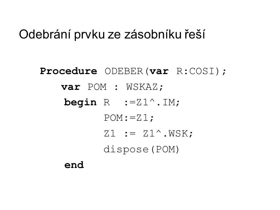 Odebrání prvku ze zásobníku řeší Procedure ODEBER(var R:COSI); var POM : WSKAZ; begin R :=Z1^.IM; POM:=Z1; Z1 := Z1^.WSK; dispose(POM) end