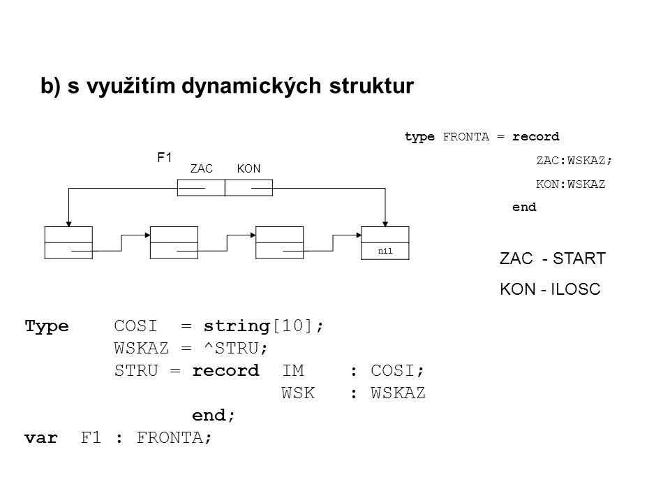 b) s využitím dynamických struktur Type COSI = string[10]; WSKAZ = ^STRU; STRU = record IM : COSI; WSK : WSKAZ end; var F1 : FRONTA; nil ZACKON type FRONTA = record ZAC:WSKAZ; KON:WSKAZ end ZAC - START KON - ILOSC F1