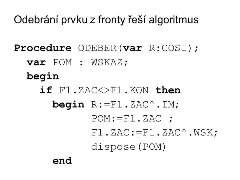Odebrání prvku z fronty řeší algoritmus Procedure ODEBER(var R:COSI); var POM : WSKAZ; begin if F1.ZAC<>F1.KON then begin R:=F1.ZAC^.IM; POM:=F1.ZAC ; F1.ZAC:=F1.ZAC^.WSK; dispose(POM) end